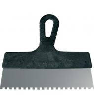 Шпатель зубчатый, зуб 6 мм, стальное лезвие, пластиковая ручка 200 мм