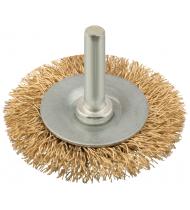 """Корщетка, тип """"колесо"""", со штифтом, стальная латунированная волнистая проволока  63 мм"""