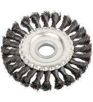 """Корщетка, тип """"колесо"""", посадочный диаметр 22,2 мм, стальная витая проволока 150 мм"""